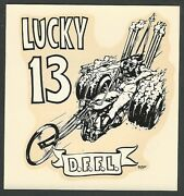 Vintage Original 1967 Ed Roth Lucky 13 D.f.f.l. Harley Trike Water Decal Art