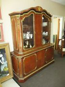 Antique French Matched Marquetry W/ Ormolu Trim China Cabinet Vitrine