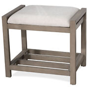 Vanity Stool Bench Wooden Padded Accent Seat Bedroom Ottoman Antique Gray Finish