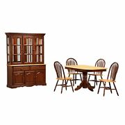 Sunset Trading Oak Selections 6 Piece Pedestal Extendable Dining Set With Chi...