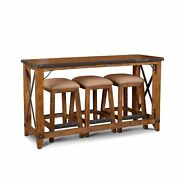 Sunset Trading Rustic City 4 Piece Counter Dining Set| Console With Stools