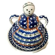 Vintage Boleslawiec Polish Pottery Figural Covered Cheese / Butter Dish