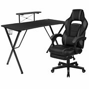 Flash Furniture Gaming Desk With Cup Holder/headphone Hook/monitor Stand And Re...