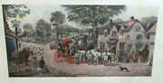 C.r. Stock Changing Horses At The Plough Original Color Engraving Dated 1882