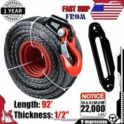 92ft 1/2 22000lbs Synthetic Winch Cable Red Hook Black 10 Mount Hawse Fairlead
