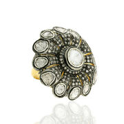 Floral Design Ring 18kt Gold 3ct Diamond .925 Sterling Silver Party Wear Jewelry
