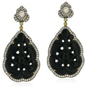 42.82ct Black Onyx 18kt Gold Pave Diamond Dangle Earrings Silver Carving Jewelry