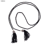 4.09ct Diamond Onyx Beaded Necklace 18kt Gold 925 Sterling Silver Tassel Jewelry