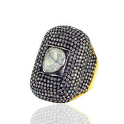 18kt Gold 6.29ct Diamond .925 Sterling Silver Handmade Ring Vintage Look Jewelry