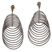 11.65 Ct Pave Diamond 14kt Gold Sterling Silver Designer Dangle Earrings Jewelry