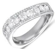 1.18ct Diamond 14kt White Gold 3d Classic 3 Row Swirl Channel Anniversary Ring
