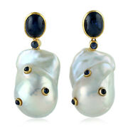 6.8ct Blue Sapphire Yellow Gold Antique Pearl Dangle Earrings Handmade Jewelry