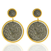 7.36ct Pave Diamond Dangle Earrings 18k Gold Sterling Silver Designer Jewelry