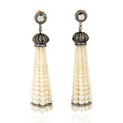 Natural Pearl Beads And Diamond 18k Gold 925 Silver Tassel Earrings Jewelry