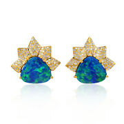Opal Doublet Pave Diamond Designer Stud Earrings 18k Yellow Gold Women Jewelry