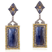 40.27ct Sapphire And Diamond 18k Gold 925 Silver Dangle Earrings Jewelry