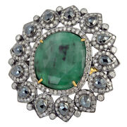 9.8ct Emerald Black Spinel Diamond Cocktail Ring 925 Silver 18k Gold Jewelry