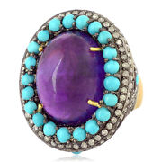925 Silver 2.08ct Pave Diamond Turquoise Amethyst Cocktail Ring 18k Gold Jewelry