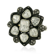 Uncut/rose Cut Diamond 925 Sterling Silver Floral Ring 14kt Gold Vintage Jewelry