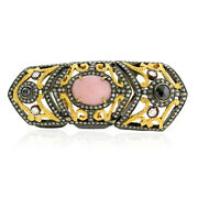 18kt Yellow Gold 1.7ct Opal Diamond .925 Sterling Silver Knuckle Ring Jewelry