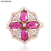 18kt Solid Rose Gold 0.67ct Pave Diamond Ruby Cocktail Ring Fashionable Jewelry
