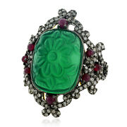 925 Silver 1.09ct Natural Diamond Ruby Green Onyx Carved Cocktail Ring 18k Gold