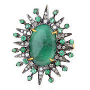 4ct Oval Emerald Diamond Starburst 18k Gold Ring 925 Sterling Silver Jewelry