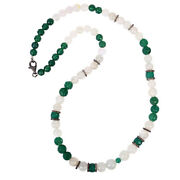 Carved Onyx Moonstone Diamond Sterling Silver Beaded Necklace Party Wear Jewelry