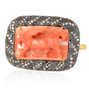Horse Carving Gemstone 18kt Gold 1.03ct Pave Diamond Silver Two Finger Ring