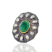 6.75ct Emerald Ring 18k Yellow Gold Sterling Silver Pave Diamond Cocktail Ring