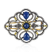 925 Sterling Silver 3.2ct Pave Diamond Blue Sapphire Brooch Pin 18k Yellow Gold