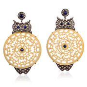 Owl Gold Dangle Earrings Sapphire Pave Diamond Silver Carved Gemstone Jewelry