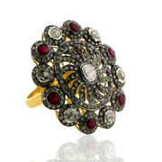 18k Gold 1.26ct Rose Cut Diamond Ruby Cocktail Ring 925 Silver Vintage Jewelry