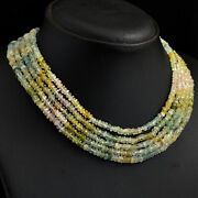 342 Cts Earth Mined 5 Strand Aquamarine Beaded Womans Necklace Jewelry Jk 33e293