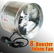 8 Duct Booster Inline Blower Fan Exhaust Vent Air Cooled Hydroponic110v / 60hz