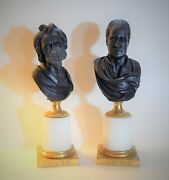 Pair Antique Black Basalt Busts Newton And Locke Attributed To Wedgwood 19th C