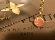 Louis Vuitton Discontinued Rarity Charm Pendant Gold Dark Pink Lv Necklace