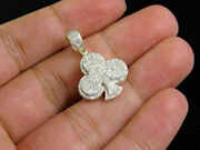 1.20ct Round Diamond Clover Club Flower Charm Pendant 14k Yellow Gold Fin Menand039s