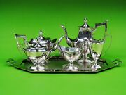 Plymouth By Gorham Sterling Silver 5-piece Tea Set. With Silver Plated Tray .