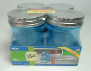4 Ball 1/2 Pint Blue New In Packaging 8 Oz With Lids And Rings Canning Jelly Jars