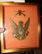 1881 Shako Hat Badge And Collar Pin Us Army 18th Regiment And Photo Of Soldier