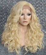 Human Hair Blend Lace Front Full Wig Long Curly Light Blonde 32 Inch Free Cap
