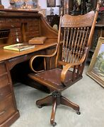 Antique American Golden Oak Spindleback Roll Top Office Desk Chair Swivels C1890