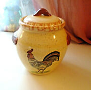 Vng Cookie Jar Canister Country Rooster Ceramic Kitchen Pottery Microwave Safe