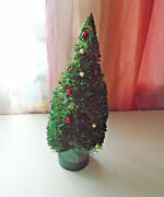 Original Vintage Bottle Brush Xmas Tree With Ornaments Beads 16andrdquo Wooden Base