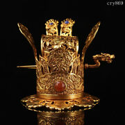 5.2rare Old China Tang Dynasty Antique Pure Copper Carving Gilding Official Hat