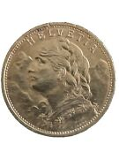 1922 Gold Switzerland 20 Franc The Swiss Miss Coin