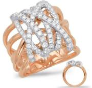 Large .81ct Diamond 14kt White And Rose Gold Multi Row Criss Cross Signature Ring