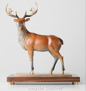 18 Chinese Pure Copper Elk Animal Sculpture On Walnut Base
