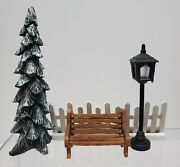 Lemax Oand039well Christmas Village Decorations - Bench Snowy Tree Fence Light Post